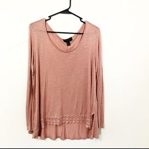 Forever 21 High-low Long Sleeve Top Pink Size 1X